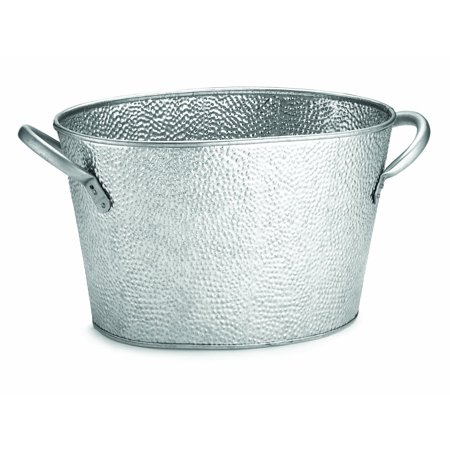 GT159 Oval Stainless Steel Beverage Tub with Galvanized Pebbled Texture, 15 by 9 by 7.5-Inch, Easy To Carry By Tablecraft ()