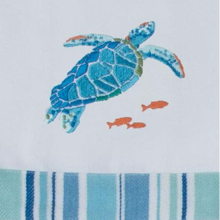 Sea Splash Sea Turtle Embroidered Kitchen Tea Towel