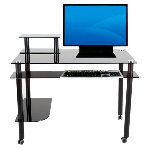 Madison Black Glass Computer / Writing Desk with Casters