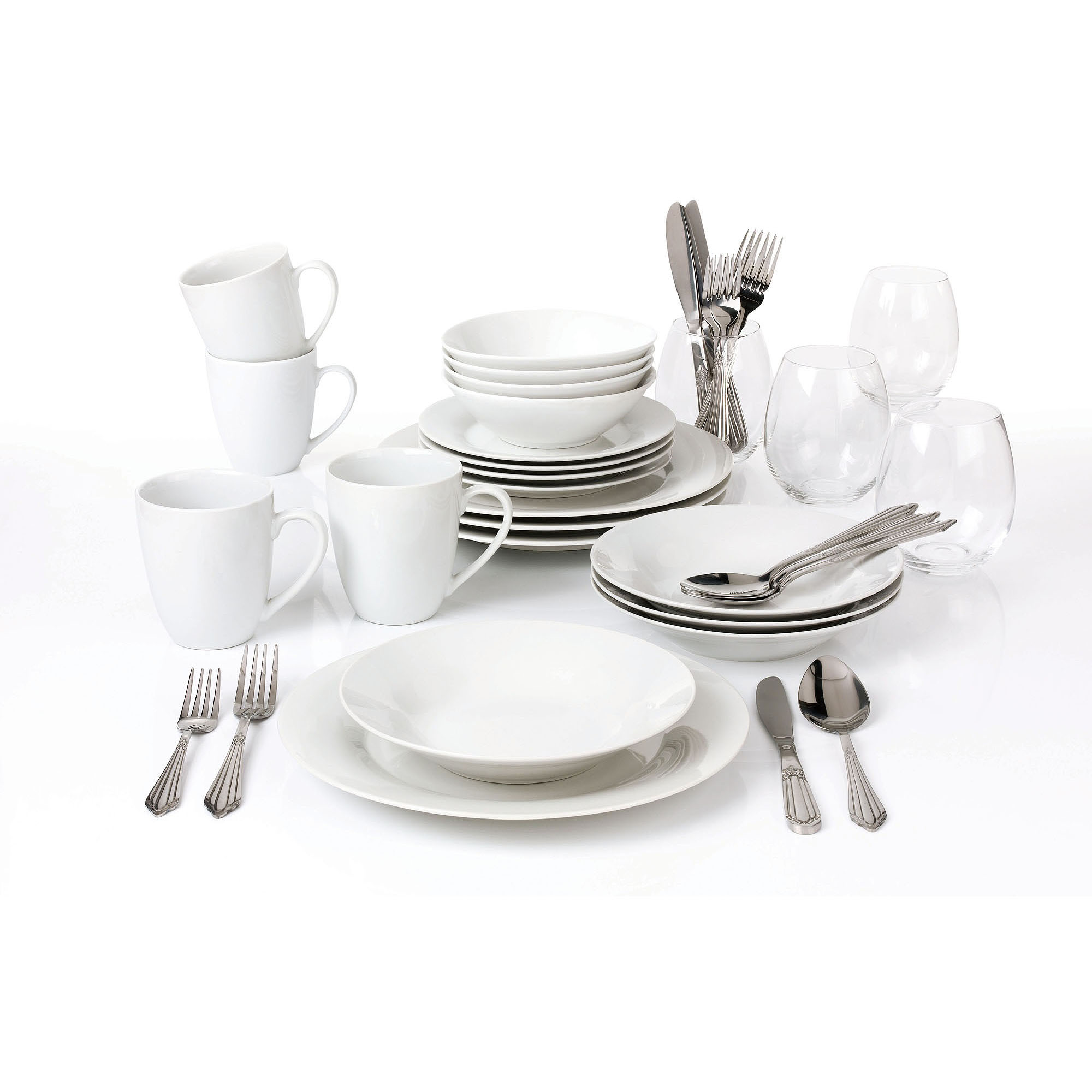 10 Strawberry Street 40-Piece Round Dinnerware Set with Wine Glasses, White by 10 Strawberry Street