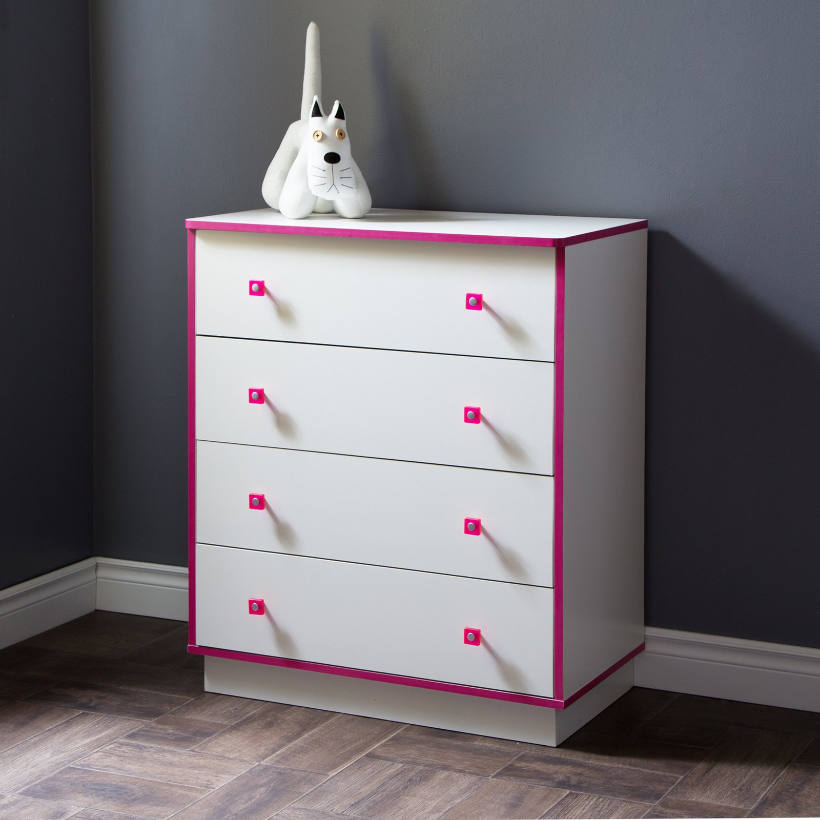 South Shore Logik 4-Drawer Chest, White and Pink by South Shore