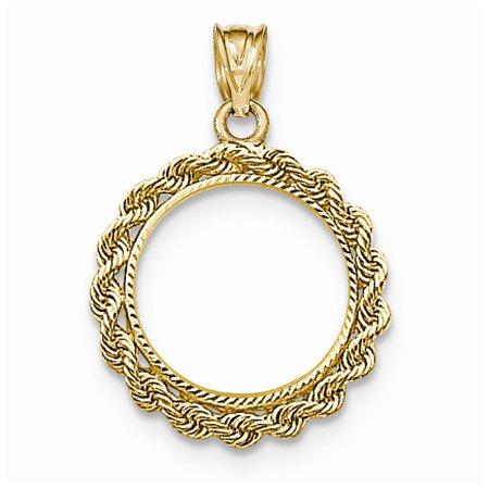 Roy Rose Jewelry 14k Yellow Gold Hand Made Rope Diamond-cut Prong 1/10 Panda Coin Bezel Pendant
