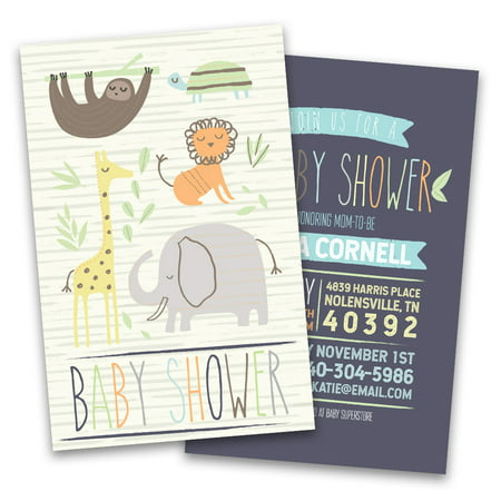Personalized Jungle Animals Personalized Baby Shower Invitations (Zebra Print Baby Shower Invitations)