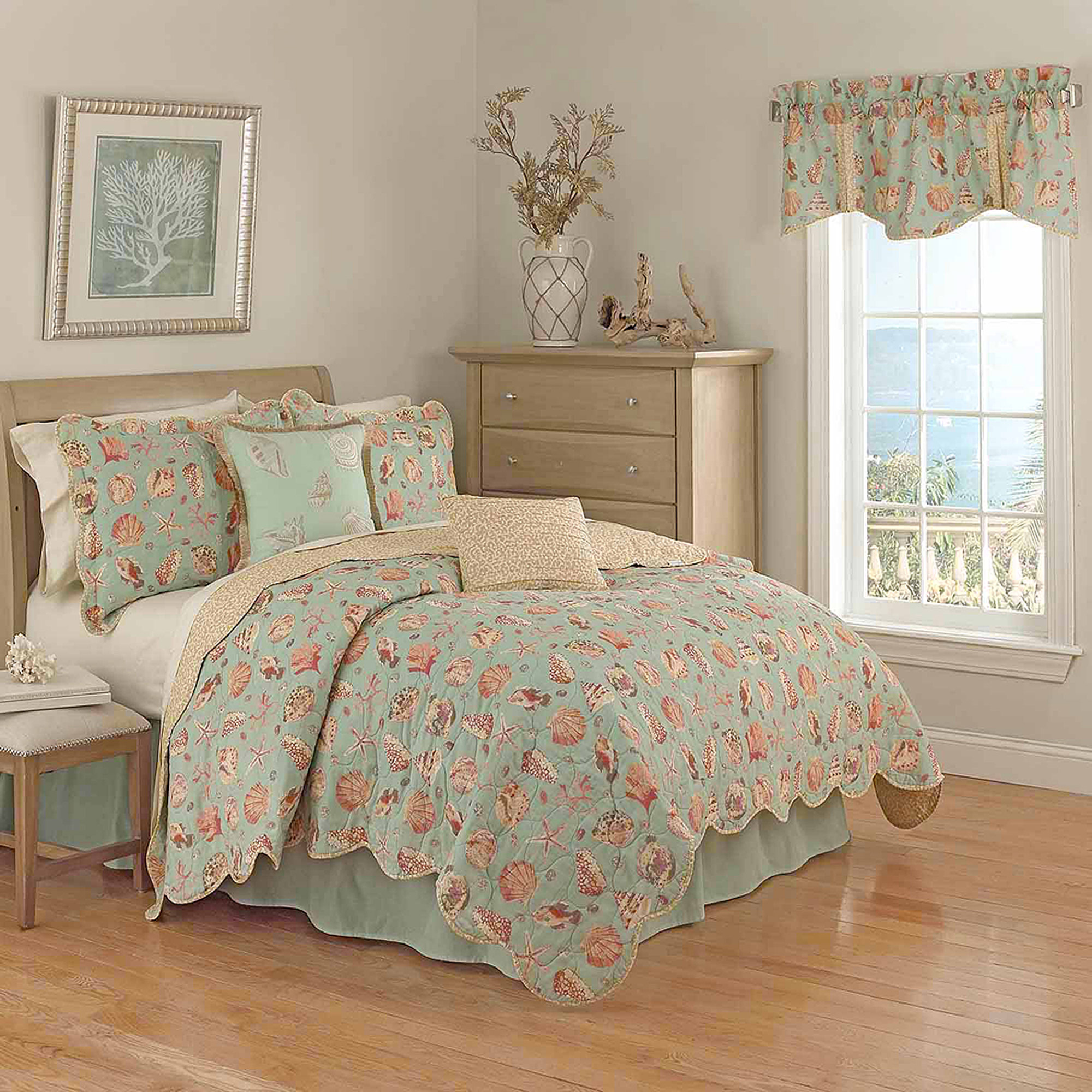 waverly shore thing reversible cotton quilt set - walmart