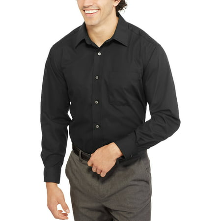 8bd7d3eb George - Men's Long Sleeve Poplin Dress Shirt - Walmart.com