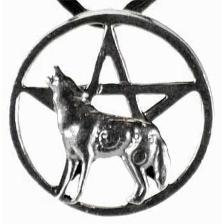 Raven Blackwood Imports Wolf Moon Howling Pentagram in Circle of Power Comes With Cord Necklace - European Imports Necklace