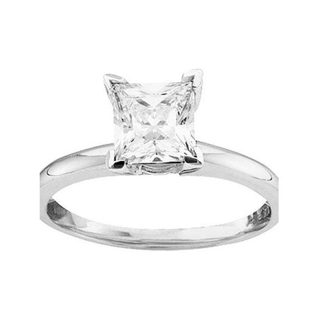 14kt White Gold Womens Princess Diamond Solitaire Bridal Wedding Engagement Ring 3/4 Cttw - image 1 de 1