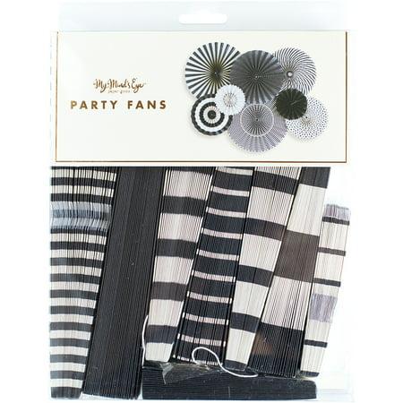 Black & White Party Fans 8/Pkg- (Party Fans)