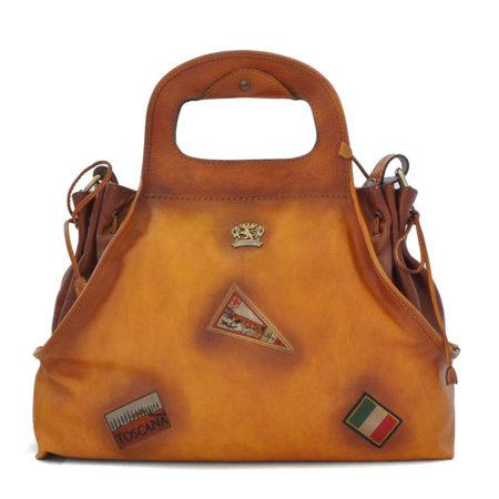 Pratesi Womens Italian Leather Handbag Gaiole in Cow Leather - Bruce in Cognac But I Italian Handbag