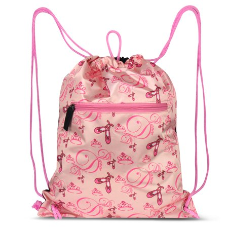 Zodaca Lightweight Fashion Ballerina Print Drawstring Closure Sling bag Gym Sack for Sports Hiking Walking](Bags For Sack Races)