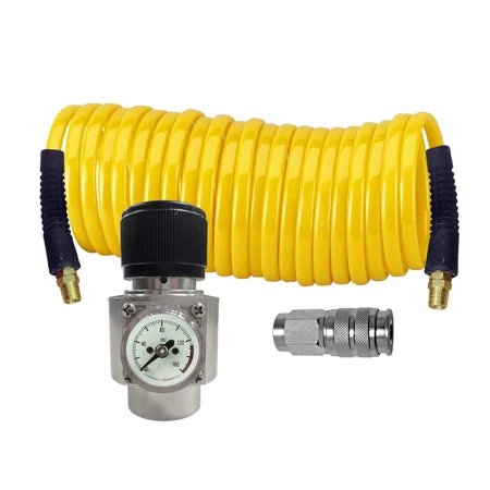 Interstate Pneumatics WRCO2-K1 CO2 regulator, Recoil hose and Coupler Kit