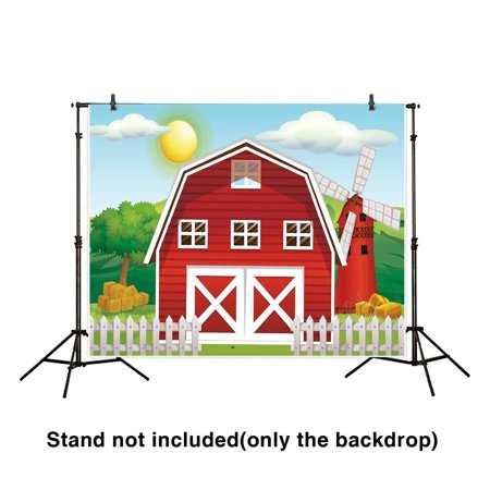 - GreenDecor Polyester Fabric 7x5ft Children Backdrop Red Tiny Farm on A Peaceful Morning Cartoon Background for Photography or Decoration