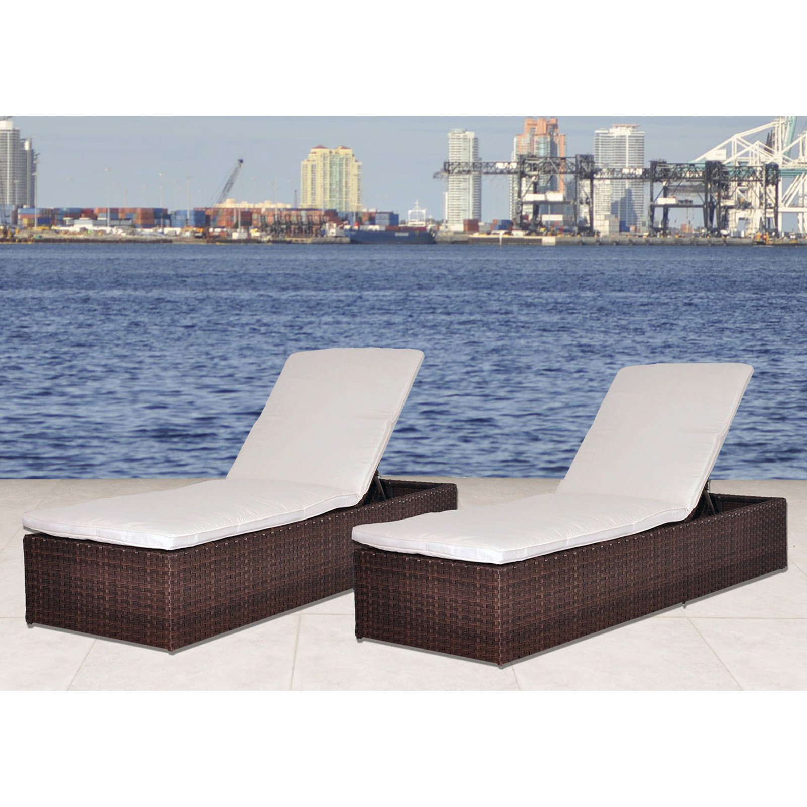 Atlantic Oxford All Weather Wicker Outdoor Chaise Lounge Set