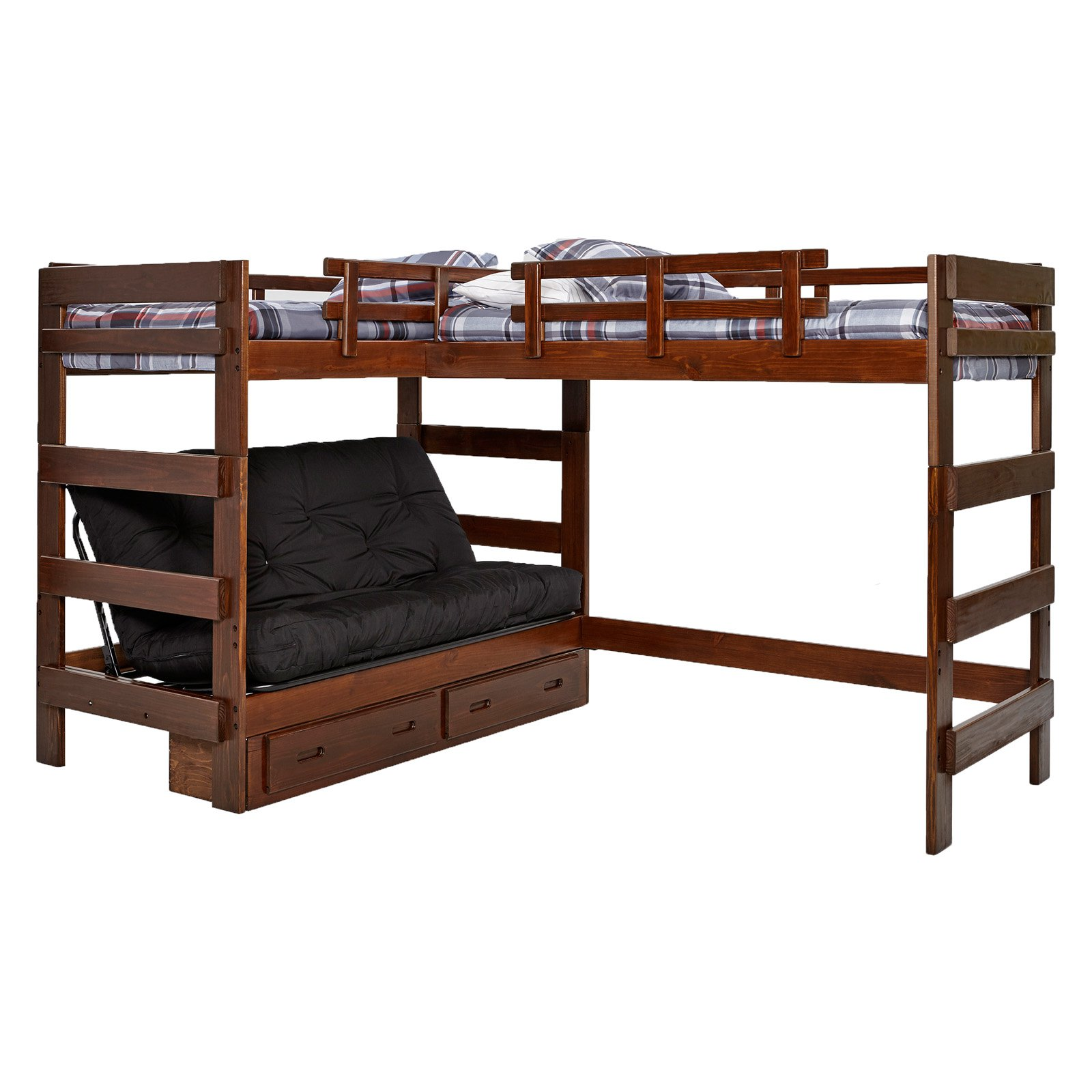 Woodcrest L-Shaped Twin Over Futon Bunk Bed with Extra Loft