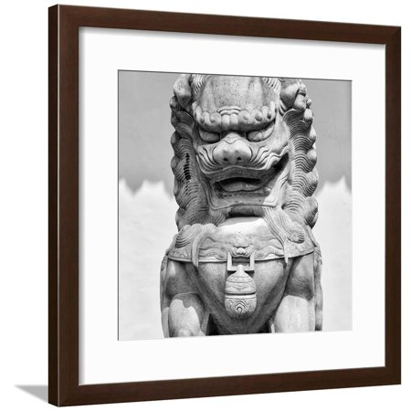 China 10MKm2 Collection - Stone Lion Statue Framed Print Wall Art By Philippe Hugonnard ()