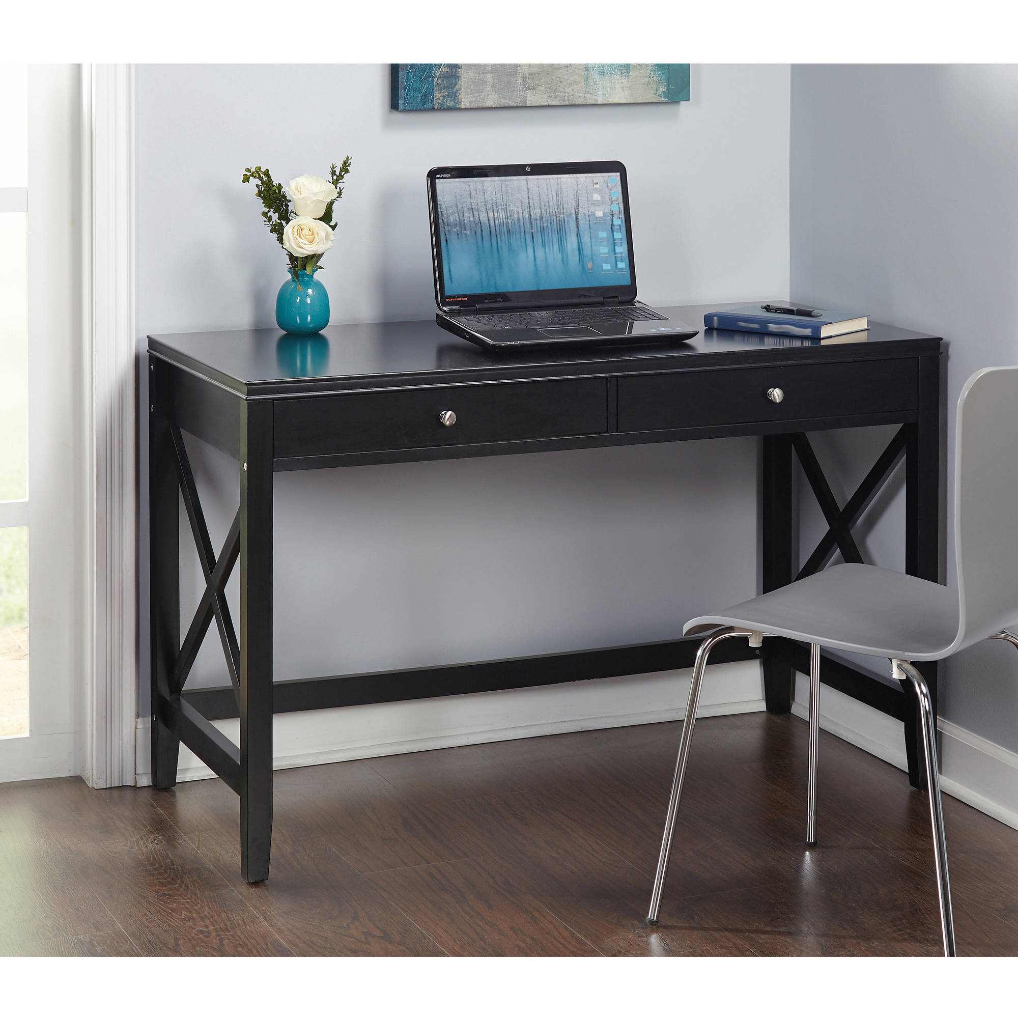 X Desk with Two Drawers, Multiple Colors