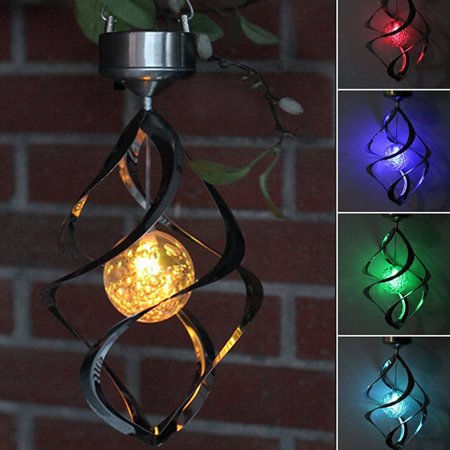 Spiral Spinner Solar Wind Chime with Glowing Magic Ball – Portable Outdoor Decorative Romantic Solar Powered WindChime Light ()
