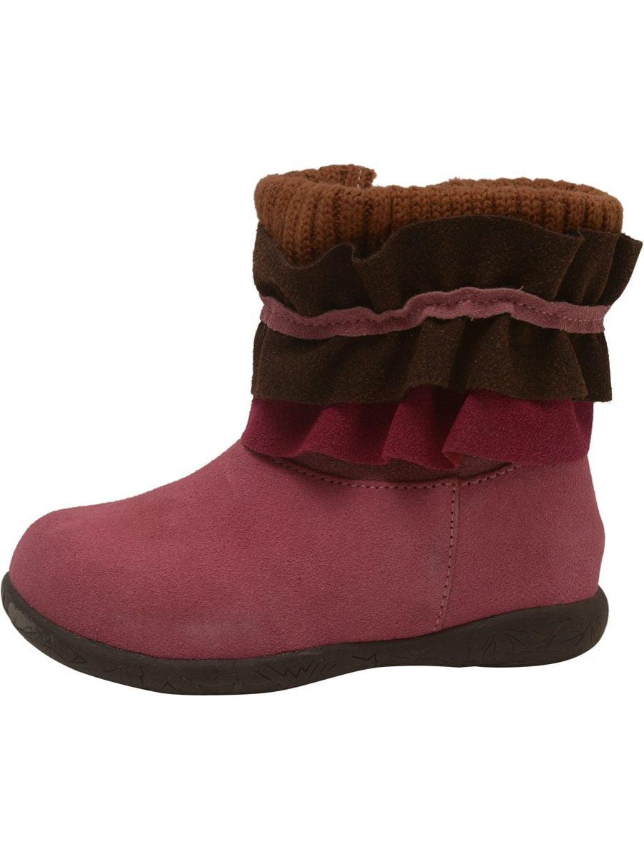L'Amour Little Girls Fuchsia 5-10 Nubuck Leather Ruffle Collar Boots 5-10 Fuchsia Toddler 92cfb3