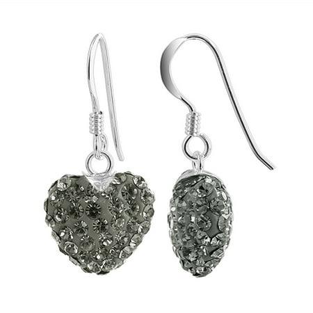Gem Avenue Heart Shape 925 Sterling Silver Purple Crystal French Ear Wire Drop Earrings