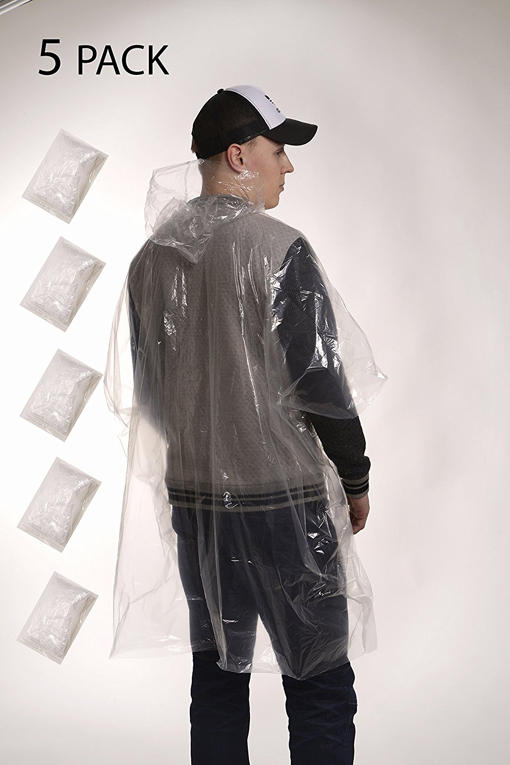 Disposable Emergency Rain Poncho with Hood for Adults 5 Pack Best for Rainy Days, Live Sports, Camping, Fishing,... by