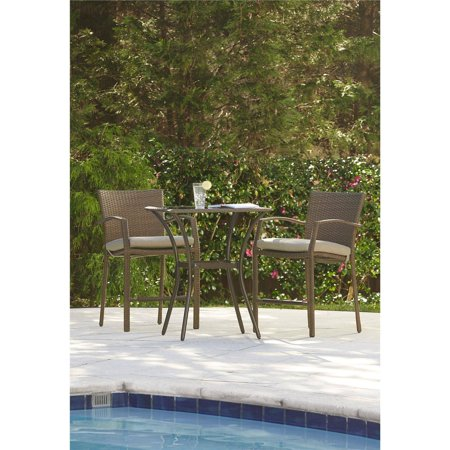 Cosco Outdoor 3-Piece High-Top Bistro Lakewood Ranch Steel Woven Wicker Patio Balcony Furniture Set with Cushions, (Bistro Set Three Piece Bronze)