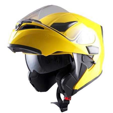 590b4ed4 1Storm Motorcycle Street Bike Modular Flip up Dual Visor Full Face Helmet  Glossy Yellow HB89