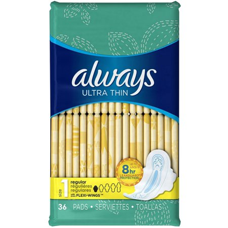 4 Pack - Always Ultra Thin Pads with Flexi-Wings, Regular, Size 1 36 ea (1 Thin)