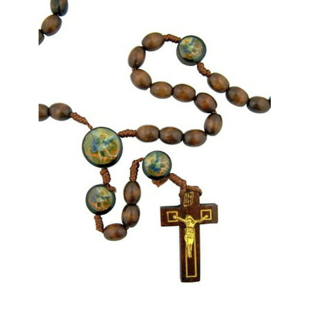 Saint Michael Archangel - Saint Michael the Archangel Wood Bead Rosary Necklace with Holy Prayer Card, 19 Inch
