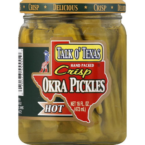 Talk O' Texas Brands Crisp Okra Hot Pickles, 16 oz (Pack of 6)