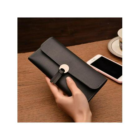 VICOODA Women Long PU Leather Soft Trifold Wallet Slim Clutch Coin Pocket Wallet Card Holder, Women Purse, Women