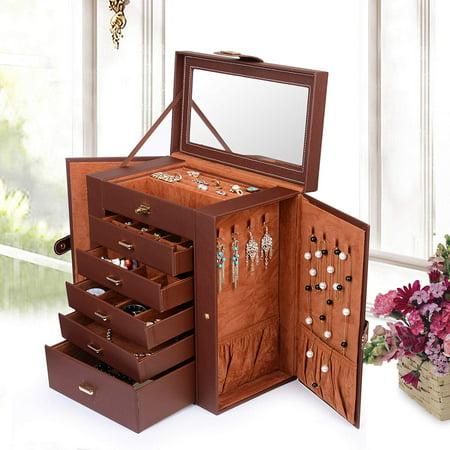 Hilitand Jewelry Box Organizer Functional Huge Lockable, Jewelry Storage Organizer Case for Women Girls with Mirro