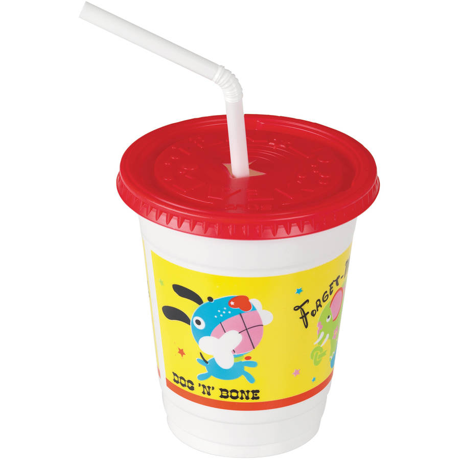 Solo Cup Company 12 oz. Critter Print Plastic Kids' Cups with Lids/Straws, 250 count
