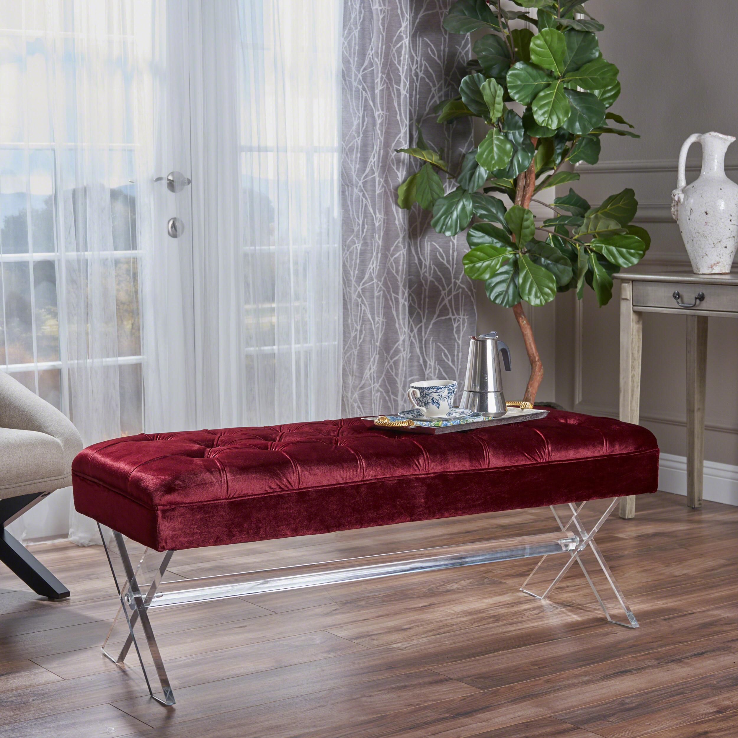 Noble House Dominique Tufted Velvet Ottoman with Acrylic Legs, Garnet, Clear