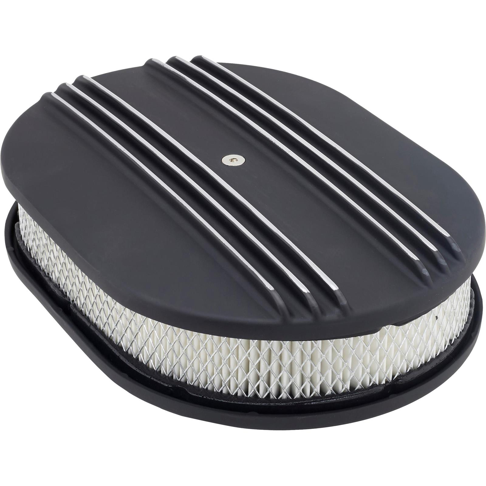 12 Inch Partial Finned Oval Air Cleaner Set w//Paper Filter Black