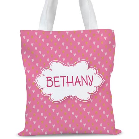 Pink Hearts Personalized Kids Tote Bag, Sizes 11