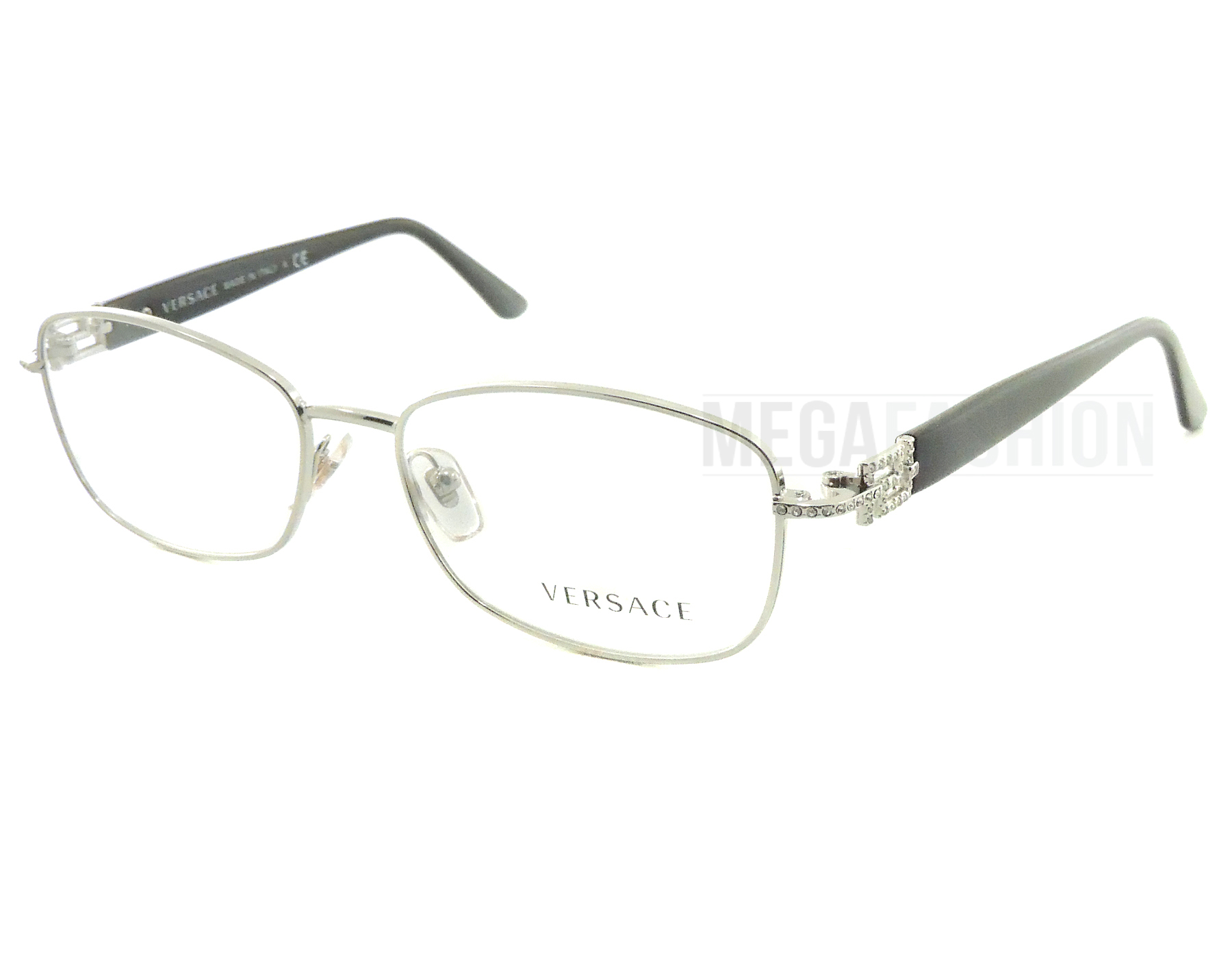 6f90ee35723 Authentic Versace Eyeglasses VE1226B 1000 Silver Black Frames 52mm Rx-ABLE