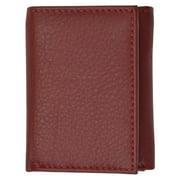 Premium soft burgundy leather kids trifold wallet