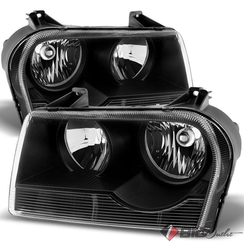 For 2005-2008 Chrysler 300 Black Housing Non-Projector Halogen Headlights Assembly Pair Left+Right/2006 2007
