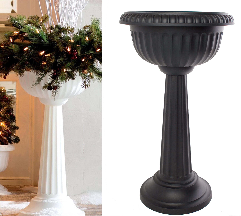"Bloem Grecian Urn Pedestal Planter 18"" Black by Urns"