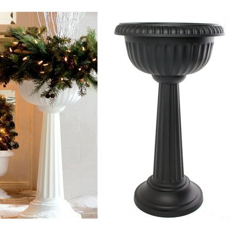 Black Beauty Urn - Bloem Grecian Urn Pedestal Planter 18