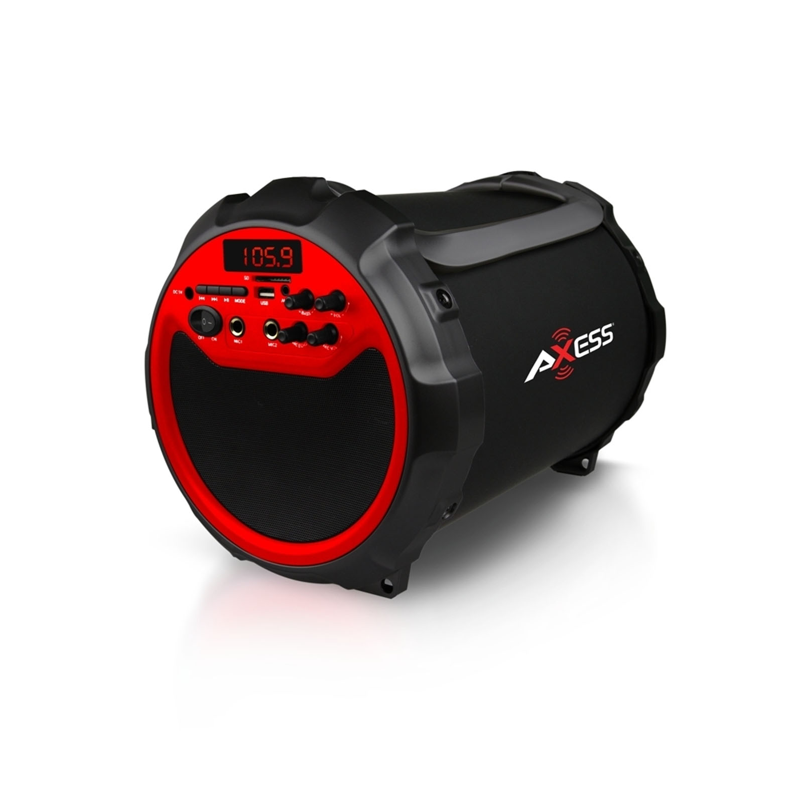 Axess Red Portable Indoor/ Outdoor BT Cylinder 2.1 Speaker with 6-inch Subwoofer and 3-inch Horn
