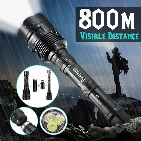 Elfeland 6000 Lumens 5 Modes Flashlight Torch Tactical Torch Light Extendable 3x T6 LED Camping Lantern Lamp (Not Included Battery)