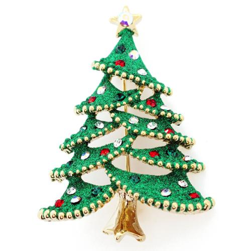 Fantasyard Goldtone Green Enamel and Gemstone Christmas Tree Pin Brooch by Overstock
