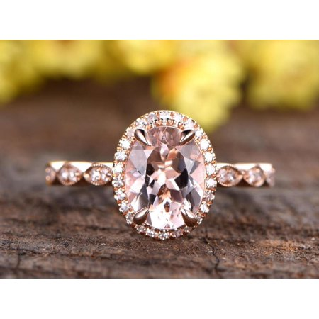 18k White Gold And Diamond Ring - 2 Carat Oval cut Real Morganite and Diamond Engagement Ring in 18k Gold Over Sterling Silver
