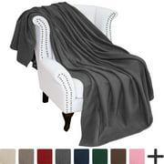 Polar Fleece Cozy Bed Blanket - Hypoallergenic Premium Poly-Fiber Yarns, Thermal, Lightweight Blanket (Full/Queen, Grey)