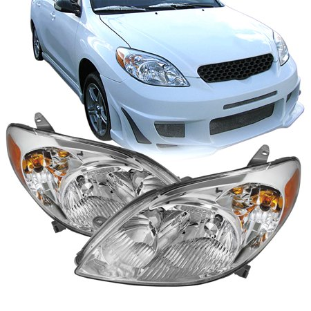 For 2003-2008 Toyota Matrix Base XR XRS Wagon Chrome Headlights Pair Replacement Toyota Replacement Headlamp