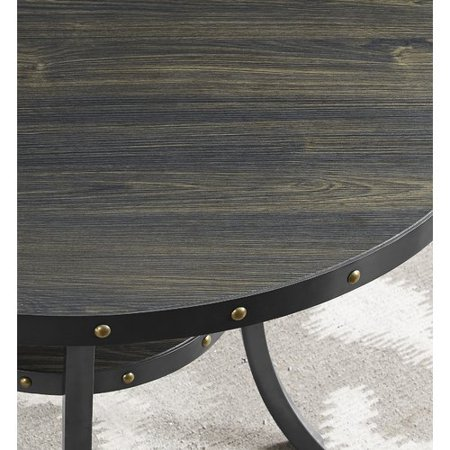 Roundhill Furniture Biony Espresso Wood Nail Head Trim End Table