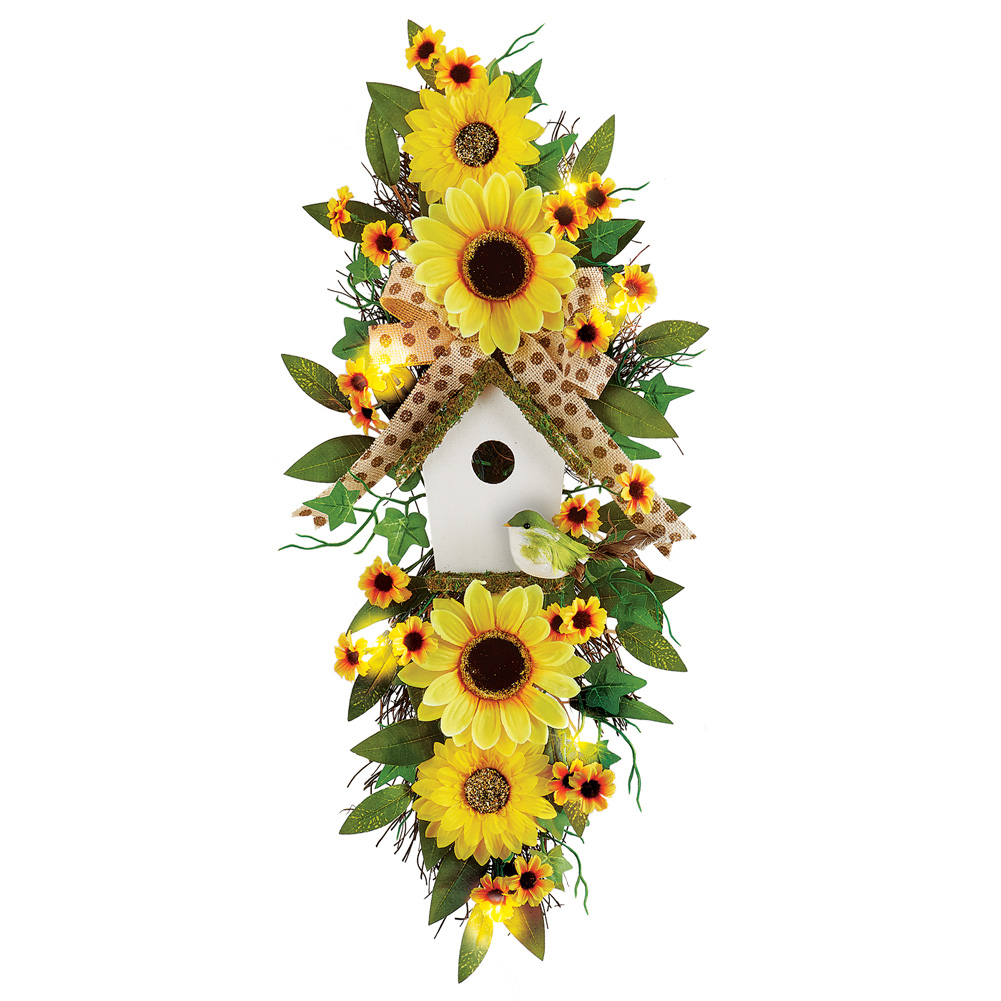 Sunflower Floral Door Swag Arrangement Decoration with Birdhouse & Lights by Collections Etc