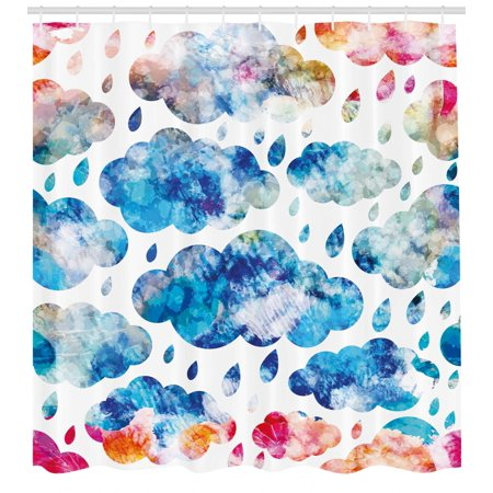 Modern Shower Curtain, Colorful Clouds Pattern with Raindrops Rainy Weather Artistic Sky Illustration, Fabric Bathroom Set with Hooks, Blue Pink Orange, by Ambesonne