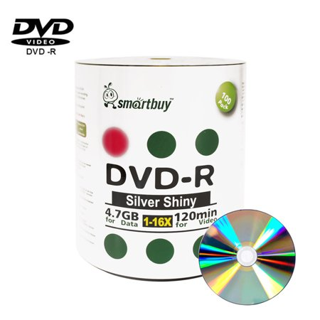 100 Pack Smartbuy 16X DVD-R 4.7GB 120Min Shiny Silver (Non-Printable) Data Blank Media Recordable